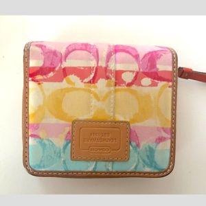 Coach signature watercolor bifold wallet